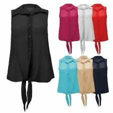 Sleeveless Blouses for Women with Buttons
