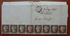 GB QV Cover 1841, Black Penny , Strip of 8 , Letter NA-NH ,  REPLICA