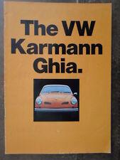VOLKSWAGEN KARMANN GHIA orig 1971 1972 UK Mkt Sales Brochure - VW Type 14