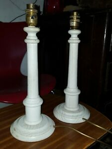 pair of wooden table or bedside lamps white