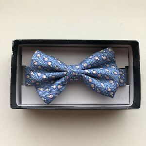 Vineyard Vines Boys Blue Silk Bow Tie Blue LaCrosse Pattern Adjustable NIB $45