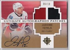 JAROME IGINLA 2007-08 Ultimate Autographed Dual Patches #'d 06/10 auto RARE!!
