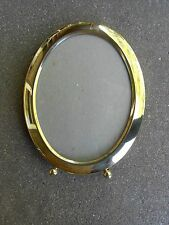 "Oval Brass Picture Frame with Ball Feet 5"" x 7"" Photo Korea"