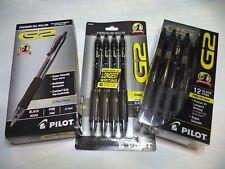 24 Pilot® G-2® Retractable Gel ROLLER Pens Fine Point 0.7mm G2 07 BLACK 31136