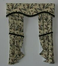 12th scale dolls house curtains  art nouveau style fabric.