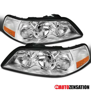 For 2005-2011 Lincoln Town Car Clear Lens Headlights Head Lamps Pair Left+Right