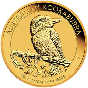 2021 P Australia Gold Kookaburra 1/10 oz $15 - BU