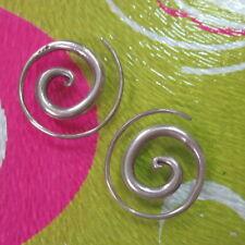 Hill Tribe Fine Sterling Silver Earrings Orecchini Simple Spiral Filigree Hoop
