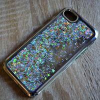 Apple iPhone 7 Glitzer-Hülle Silber flüssig Liquid Silikonhülle Strass-Rahmen