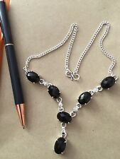 925 Sterling Silver Black Onyx Vintage Look Necklace.Crystal Healing.UK SELLER