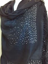 SEQUIN SCARF BLACK SHAWL WRAP SILVER SHAWL NIGHT PARTY CAPE  PASHMINA TOP STOLE