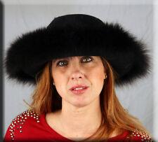 New Black Felt Hat Black Fox Fur Trim - One Size Fits All