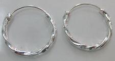 REAL 925 STERLING SILVER 16mm TWIST hoop SLEEPERS earrings - KID TEEN GIRL WOMEN