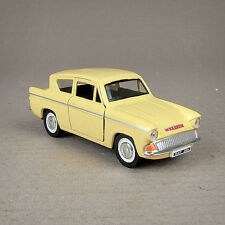 Yellow Diecast 1:32 Ford Anglia 1960 Model Car 12cmLong Pull Back Friction Drive
