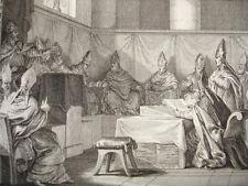 GRAVURE XVIIIe / CONCILE DE TROYE PRÉSIDÉ PAR LE PAPE AN 878