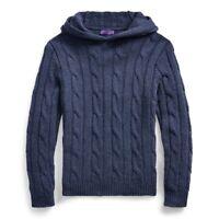 Ralph Lauren Purple Label Dark Blue Cable Knit Cashmere Hooded Sweater $1,495