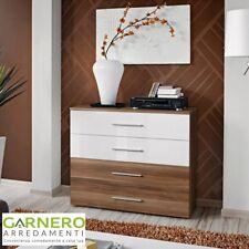 Cassettiera FLORIDA corpo noce e cassetti noce/bianchi luc. design casa arredo