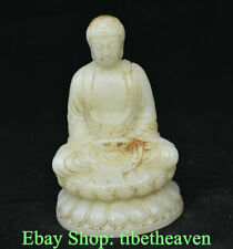 "5.2"" Old China Han White Jade Carving Dynasty Sakyamuni Amitabha Buddha Statue"