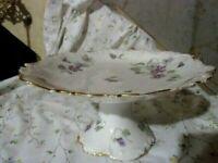Antique French France Limoges VIOLETS cake pedestal plate stand