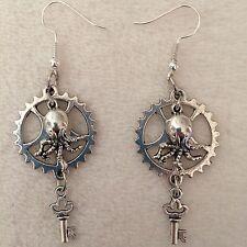 Silver Gear Mini Octopus Key Charm Earrings Handmade Steampunk US Seller