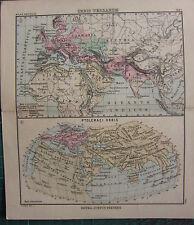 1897 ANTIQUE MAP ~ ORBIS TERRARUM ANCIENT WORLD PTOLEMAEI SARMATIA ARIANA