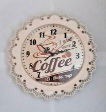 """Carrick Design Retro Kitchen Clock 33cm  """"I Need More Coffee"""""""