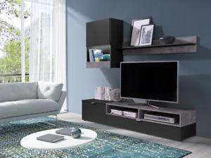 Living Room Set TV Unit Shelf Cabinet 'RICKO' BLACK GREY TV Wall Unit set Led
