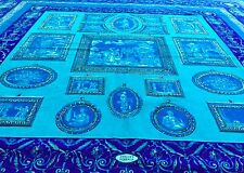 """GIANNI VERSACE blue turquoise velvet fabric panel QUADRERIA print 57.5"""""""