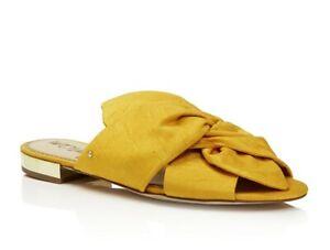 Sam Edelman 258902 Womens Darian Knotted Silk Slide Sandals Yellow Size 6.5 M