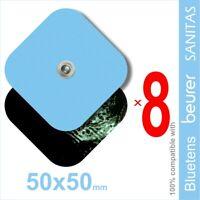 Set of 8 electrodes 50x50 mm for VITALCONTROL, SANITAS, Beurer, BLUETENS