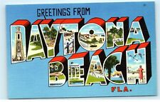 *Greetings from Daytona Beach Florida Large Letter Vintage Linen Postcard C41