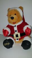 "Disney CHRISTMAS Winnie The Pooh Santa BEAR LARGE Plush 1999 NEW MWT SITTING 13"""