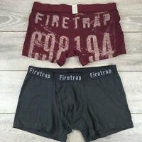 2 x FIRETRAP Boxers Mens Trunks Shorts Underwear 2XL Charcoal Burgundy R613-6