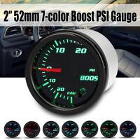 """2"""" 52mm 7 Color LED Display PSI Turbo Boost Pressure Vacuum Gauge Car Meter"""