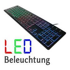 PC COMPUTER TASTATUR USB BUNTE BELEUCHTUNG LED ABSCHALTBAR QWERTZ KEYBOARD
