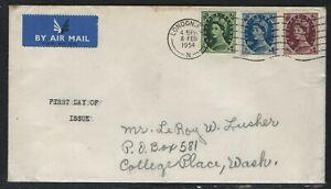 1954 Great Britain Scott #303-305 (SG #526-528) FDC - QEII 8d, 10d and 11d