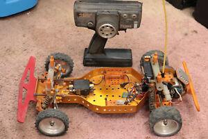 vintage team associated rc10 gold pan rc car buggy hot trick aluminum wheels