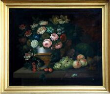 18th CENTURY LARGE DUTCH OLD MASTER OIL - FLOWERS URN & FRUIT ON MARBLE LEDGE