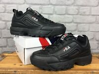 FILA UK 6 EU 39 1/2 MENS DISRUPTOR II BLACK TRAINERS CHUNKY KICKS RRP £80