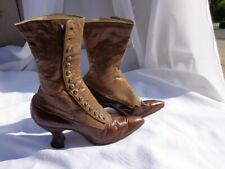 Edwardian Victorian Leather Boots Shoes Button Antique Granny Witch Steampunk
