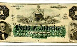 "$1 ""BANK OF AMERICA"" 1800'S (RHODE ISLAND) $1 ""GREEN PRINT"" SUPER CRISPY! RARE!!"