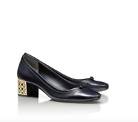 $295 Tory Burch Bea Leather Pumps Gold Plated Heel Womens Size 38.5 Netaporter