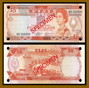 Fiji 5 Dollars, 1980 P-78s2 Sig Tomkins QE II Specimen Crease (XF)