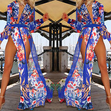 Women Summer Boho Floral V Neck High Split Party Beach Dress Long Maxi Sundress#