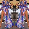 Women Summer Boho Floral Print V Neck High Split Party Beach Long Maxi Sun Pop