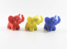 Metzeler === 3 x Werbefiguren bunte Elefanten rot gelb blau