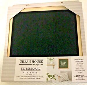 """Urban House Design LETTER BOARD 12"""" x 12"""" Oak Frame/Black Velvet Kit 291 pieces"""