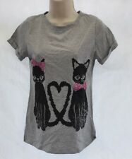 Debenhams Bluezoo Grey Love Heart Tail Cat Glitter Shirt Tee Top Age 12-13 DE64