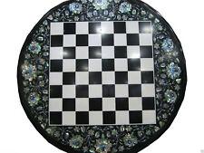 "24"" Marble Chess Game Table Top Pietra Dura Semi Precious Stone Handamde Gift"