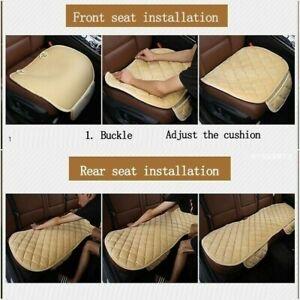 Front & Rear Car Seat Cover Velvet Plush Pad Rhombus Mats Chair Cushion
